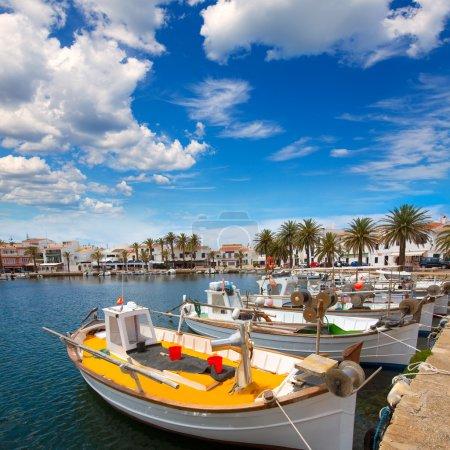 Fornells Port in Menorca marina boats Balearic islands