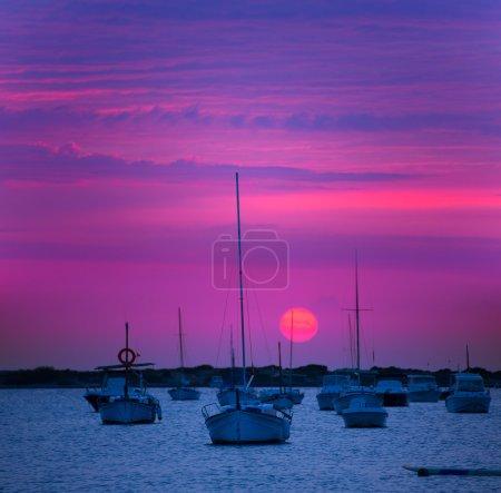 Formentera sunset at Estany des Peix lake