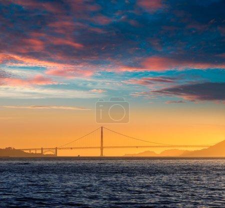 Golden Gate bridge sunset in San Francisco California