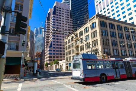 San Francisco centre-ville bâtiments et tramway Californie