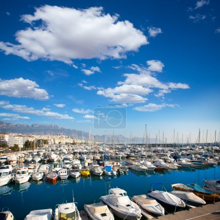 Altea village in alicante with marina boats foreground