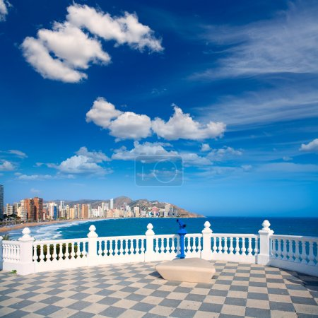 Benidorm balcon del Mediterraneo sea from white balustrade
