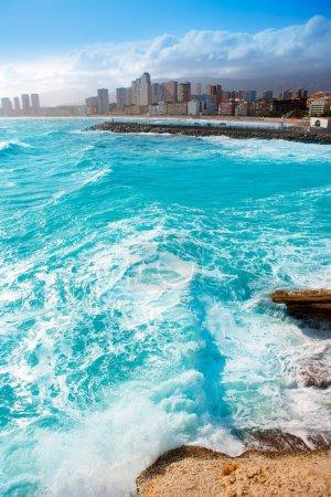 Benidorm Alicante beach buildings and Mediterranean
