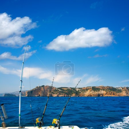 Fishing trolling boat rods in Mediterranean Cabo Nao Cape