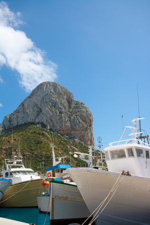 Calpe Alicante fisherboats with Penon de Ifach