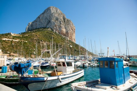 Calpe Alicante fisherboats with Penon de Ifach