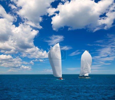 Sailboats regatta sailing in Mediterranean