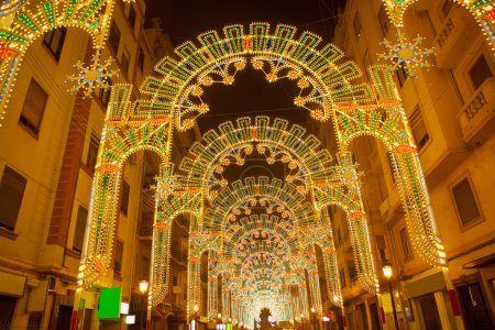 Beautiful night lights in Fallas fest of Valencia in calle Sueca
