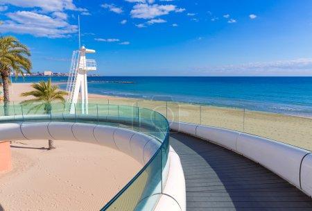 Alicante el Postiguet beach playa with modern bridge