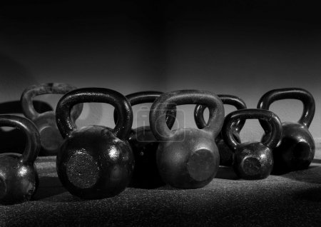 Kettlebells weights in a workout gym
