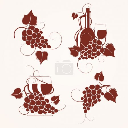 Set of grape design element