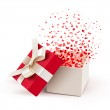 Open gift box with flying hearts. Vector...