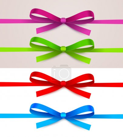 Illustration for Collection of colored bows on a light background - Royalty Free Image