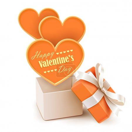 Illustration pour Coffret cadeau avec de grands cœurs isolés sur blanc. Illustration vectorielle - image libre de droit