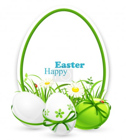 Illustration for Easter eggs on the background of a banner with grass. Vector illustration - Royalty Free Image