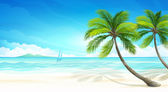 Landscape with palm tree and ocean Vector illustration EPS10