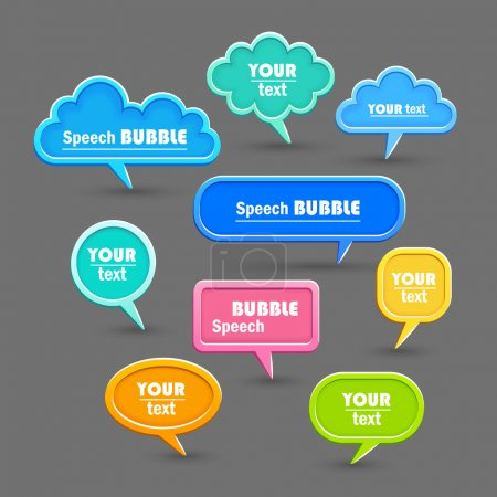 Illustration for Set of speech bubbles on a gray background. Vector - Royalty Free Image