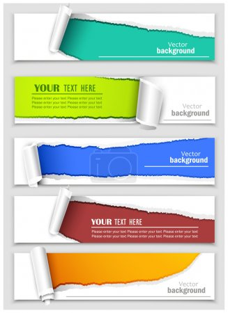 Illustration for Set of banners with torn paper corners. Vector - Royalty Free Image