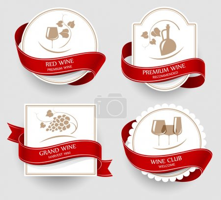 Illustration for Labels set for wine isolated on white - Royalty Free Image