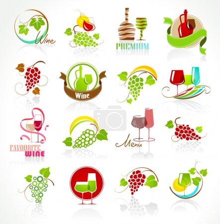Illustration pour Collection d'icônes du vin avec réflexion sur fond blanc - image libre de droit