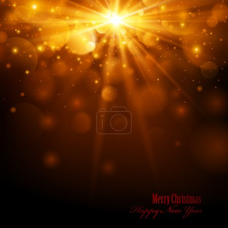 Illustration for Christmas golden background with bright lights and snowflakes - Royalty Free Image