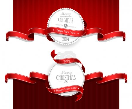 Illustration for Christmas emblems with red ribbons. Vector illustration - Royalty Free Image