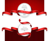 Christmas emblems with red ribbons Vector illustration