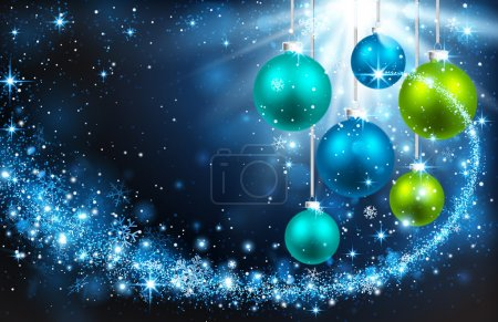 Illustration for Christmas color balls on a blue background with snowflakes and bright rays of light - Royalty Free Image