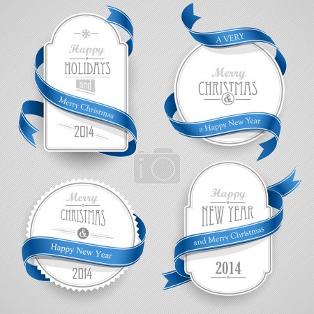 Illustration for Collection of Christmas emblems with ribbons on a gray background - Royalty Free Image