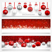 Collection of Christmas banners with snowflakes and Christmas balls
