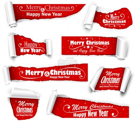 Illustration for Collection of red paper with Christmas text - Royalty Free Image