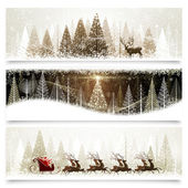 Collection of banners with Christmas landscapes