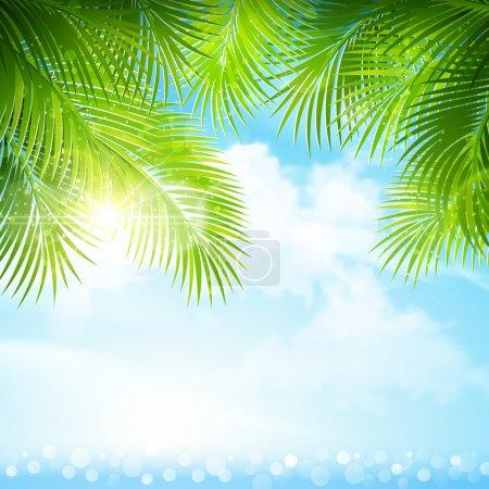 Illustration pour Feuilles de palmier tropicales contre le ciel bleu. Illustration vectorielle - image libre de droit