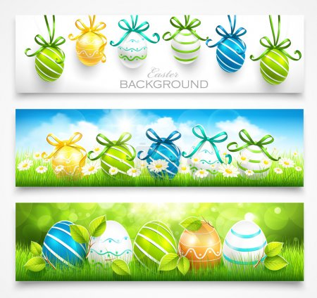 Illustration for Natural backgrounds with Easter eggs and green grass. Vector - Royalty Free Image
