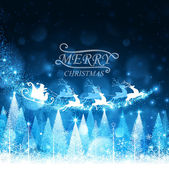 Winter forest and Santa Claus with reindeer Vector illustration