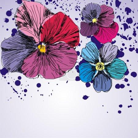 floral vector postcard