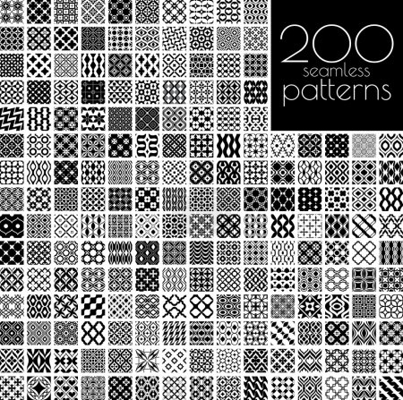 Illustration for 200 black and white ornament patterns vector illustration(each pattern in swatch panel) - Royalty Free Image