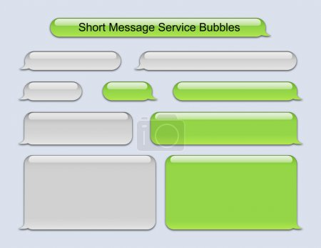 Illustration for Illustration of SMS Bubbles green and gray used on famous phone - Royalty Free Image