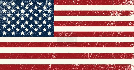 Illustration for Illustration of a vintage United States of America flag scratched - Royalty Free Image