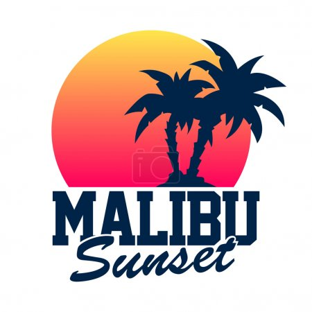 Illustration for Vector illustration of Malibu Sunset vintage style logo - Royalty Free Image