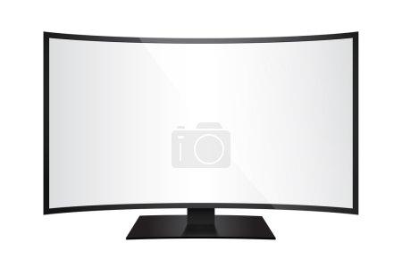 Illustration pour Illustration vectorielle d'un écran géant incurvé isolé de face pour l'insertion d'images - image libre de droit