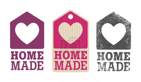 Homemade label with house and heart...