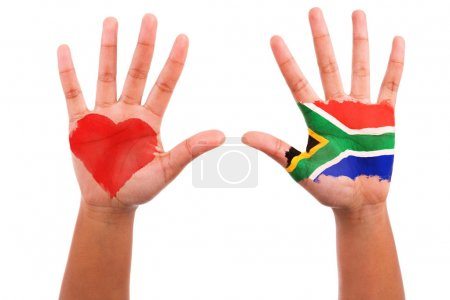 African hands with a painted heart and south afric...