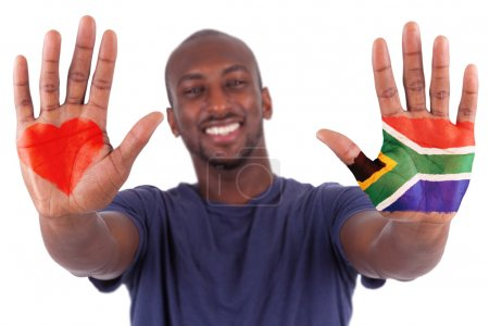 African man hands with a painted heart and south african flag, i