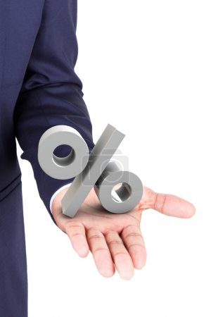 Business man holding a 3d percent symbol in hand palm