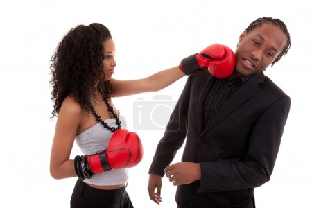 Young black woman fighting with her boyfriend - Black people