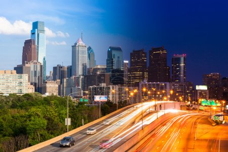 Day and Night view of Philadelphia skyline - USA