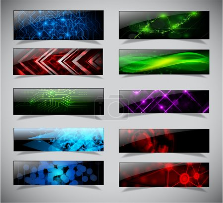 Illustration for Horizontal techno banners set. Vector illustration. eps10 - Royalty Free Image