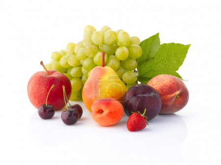 Various, assorted fruits (grape, apple, pear, cher...