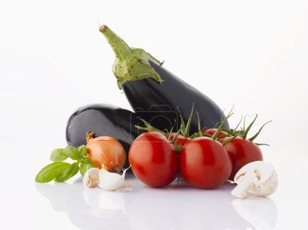 Various vegetables on white